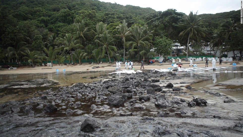 A major oil spill on Sunday, July 28, coated Ao Phrao beach on the popular tourist island of Koh Samet in northern Thailand.  Authorities estimate that around 50,000 liters (13,200 gallons) of crude oil was leaked from an offshore pipeline belonging to PTT Global Chemical, Thailand's largest petrochemical producer, and 5,000 liters (1,320 gallons) have washed onto the white sand beaches of the island.