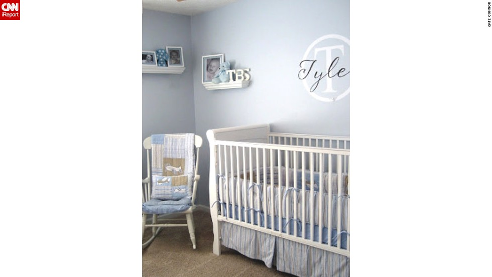 "<a href=""http://ireport.cnn.com/docs/DOC-1013174"">Kate Connor</a>'s <a href=""http://www.chiconashoestringdecorating.blogspot.com"" target=""_blank"">modern baby blue</a> boy nursery."
