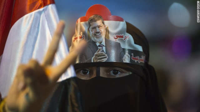 A female supporter of Egypt's deposed president Mohamed Morsi during sit in outside Rabaa al-Adawiya mosque in Cairo on August 1, 2013.