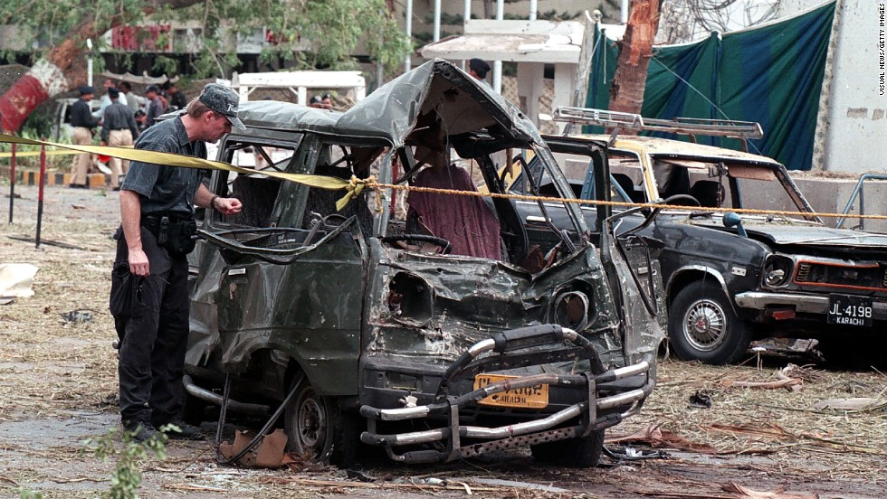 "A previously unknown militant group called Al-Qanoon claimed responsibility for a bombing that killed 10 people at the <a href=""http://archives.cnn.com/2002/WORLD/asiapcf/south/06/14/karachi.blast/index.html"">U.S. Consulate in Karachi, Pakistan,</a> on June 14, 2002. The U.S. State Department says it suspects al Qaeda is responsible."