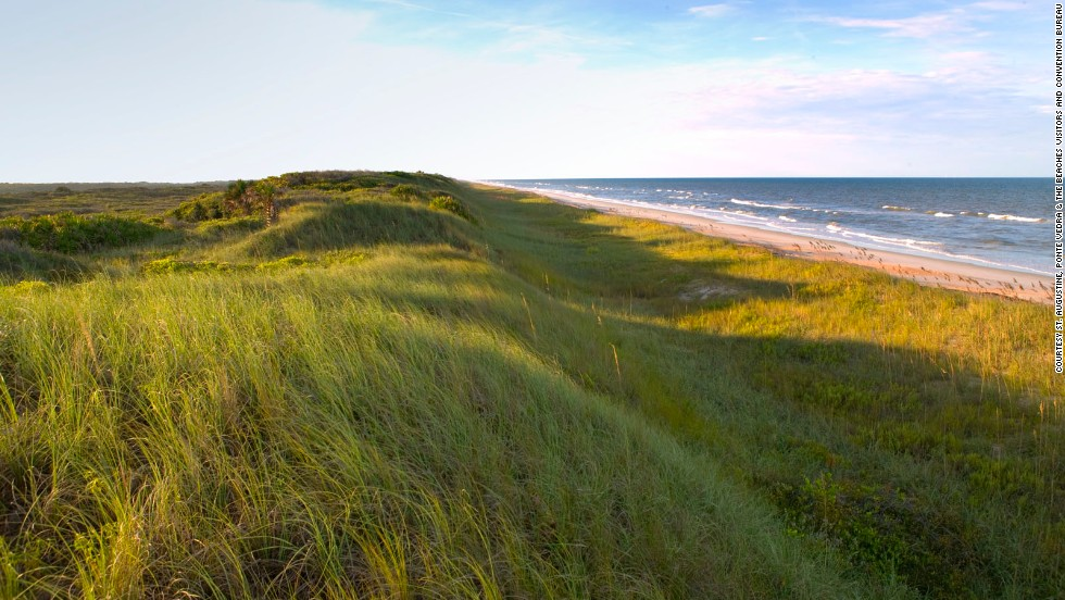 """Dunes rise nearly 30 feet above the beach at the <a href=""""http://www.floridashistoriccoast.com/ponce_de_leon/finding_ponce"""" target=""""_blank"""">Ponce de Leon historical site</a> at Ponte Vedra Beach, about 20 miles southeast of Jacksonville, Florida."""