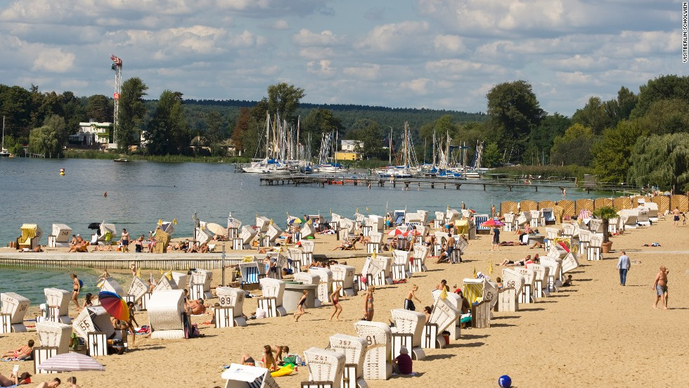 Berliners have been sprawling on the shores of Europe's largest swimming baths, complete with sand shipped in from the Baltic Sea, since 1907. This one's also got a nude area.