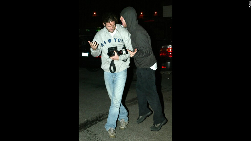 "Coldplay's Chris Martin was seeing red rather than ""Yellow"" in January 2008. Martin was exiting a New York hospital with his wife, Gwyneth Paltrow, when he encountered a photographer (not pictured here). <a href=""http://gawker.com/5002367/those-poor-paparazzi"" target=""_blank"">The singer was captured on video clashing with the paparazzo</a> and trying to take his camera."