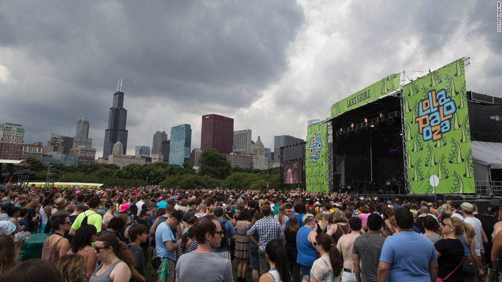 Rain clouds loom over the Chicago skyline as the audience waits for a performance on August 2.