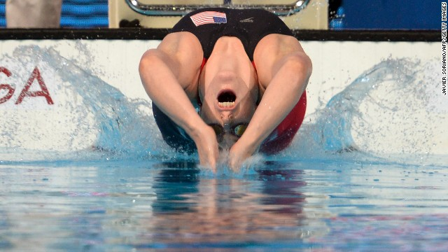 Missy Franklin sets off in the 200m backstroke final at the swimming world championships in Barcelona.