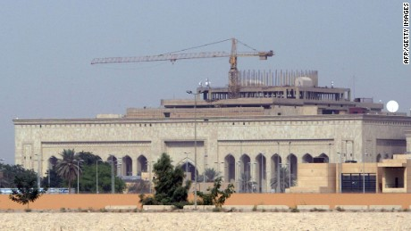 A picture shows the new US embassy complex, still under construction, in the heavily fortified Green Zone, on the west bank of the Tigris River in Baghdad, 11 October 2007. Shoddy construction work, safety lapses, kickbacks, internal disputes and ballooning costs -- the new US embassy complex in Baghdad is mired in a deluge of problems, with Secretary of State Condoleezza Rice on the frontline of fire from lawmakers. Three months after the State Department confidently told Congress that the world's biggest US embassy would be completed on schedule in September 2007, officials are now saying that it would be delayed indefinitely, with one report saying by more than a year. A multitude of questions have been raised over the safety of the complex, budgeted originally at about 600 million dollars.   AFP PHOTO/STR (Photo credit should read STR/AFP/Getty Images)