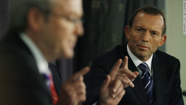 Australia's opposition leader Tony Abbott  during a debate against Prime Minister Kevin Rudd at the National Press Club on March 23, 2010.