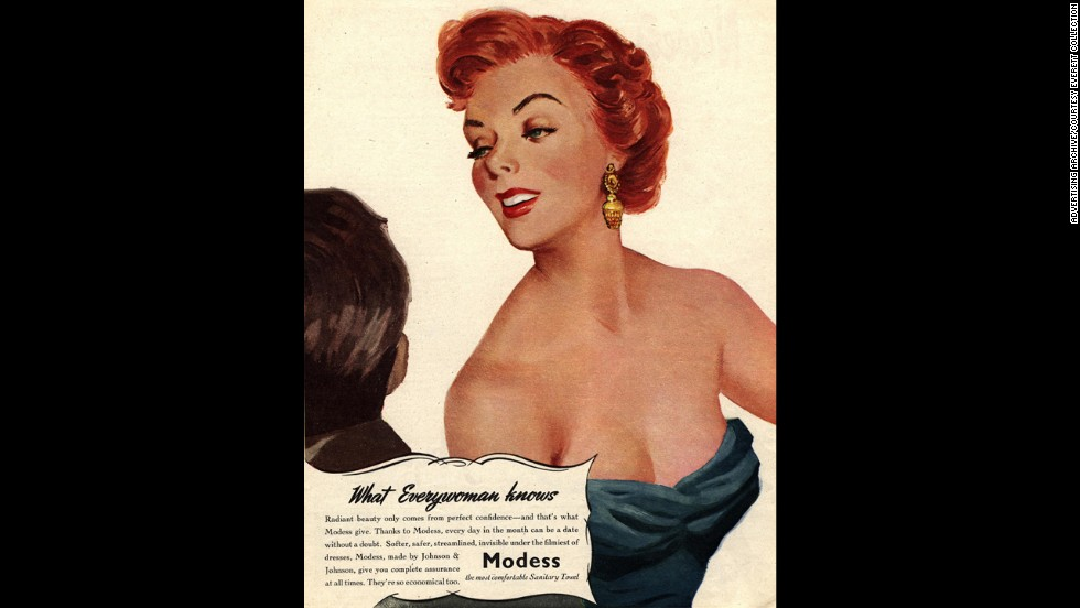 "This 1950s-era Modess commercial touts the ability of their product to inspire confidence ""invisible under the flimsiest of dresses."""