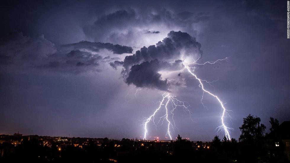 Lightning illuminates the sky near Görlitz, Germany, on Sunday, August 4.