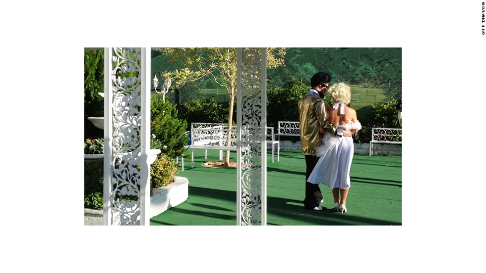 """""""Elvis"""" and """"Marilyn"""" tie the knot at <a href=""""http://www.alittlewhitechapel.com/"""" target=""""_blank"""">A Little White Wedding Chapel</a> in Las Vegas."""