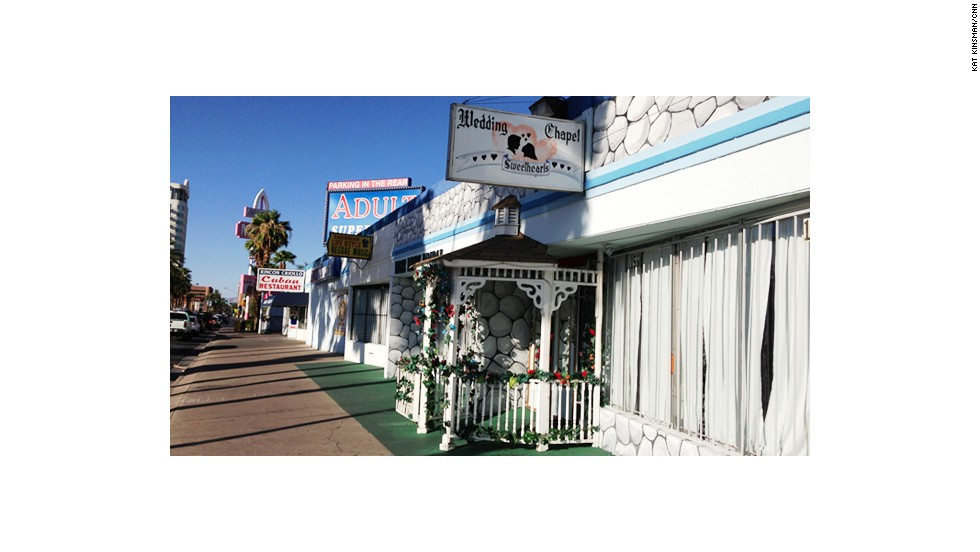 """At the other end of the strip, family-owned and operated <a href=""""http://www.sweetheartschapel.com/"""" target=""""_blank"""">Sweethearts Wedding Chapel</a> has helped happy couples tie the knot since 1992."""