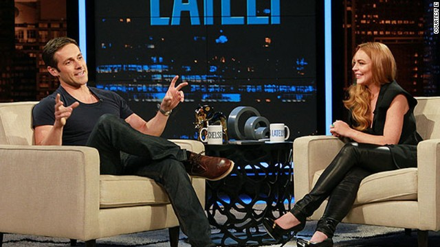 "Lindsay Lohan interviews Dylan Bruce from ""Orphan Black"" on E!'s ""Chelsea Lately."""