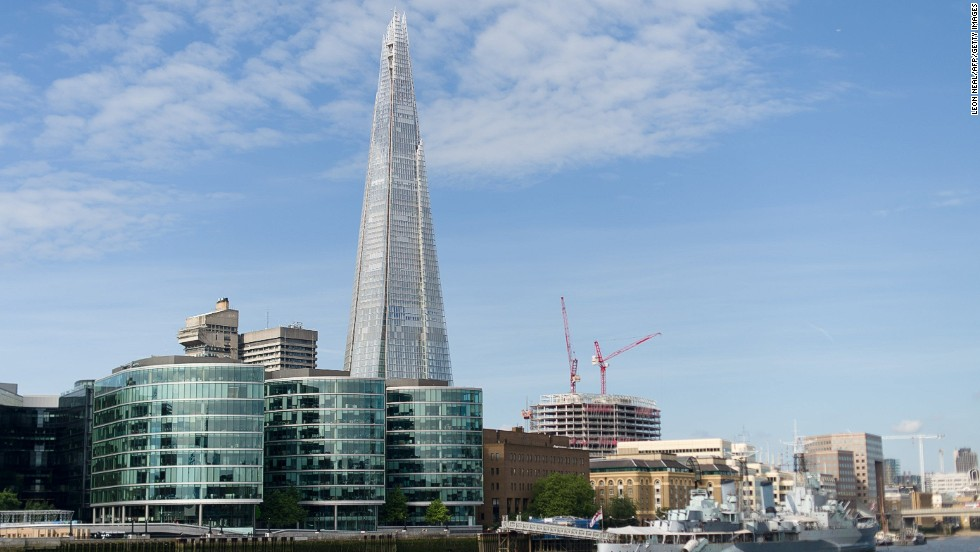 <strong>Height:</strong> 310 meters.<br /><strong>Cost to build</strong>: $666 million. <strong><br />Completion date</strong>: November 2012.<br /><strong>Fast fact</strong>: Architect Renzo Piano made the first rough sketch of The Shard on the back of a restaurant menu in Berlin in 2000.