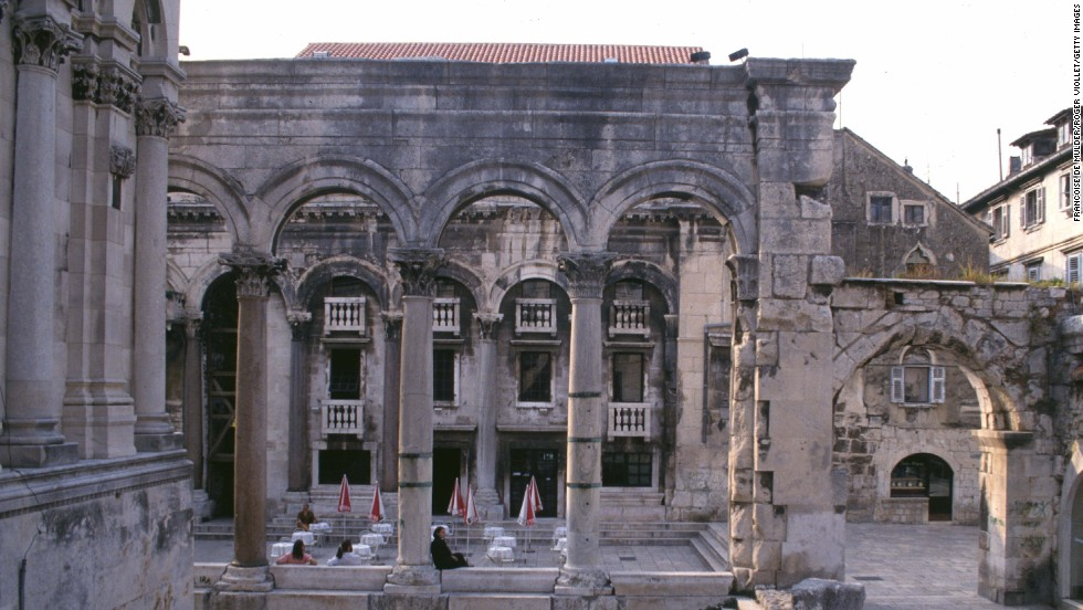 Diocletian was born in nearby Salona (now Solin in Croatia) around 244 AD  and rose to become emperor of Rome around 285 AD. Peristyle, the center of his ancient palace, is shown here.