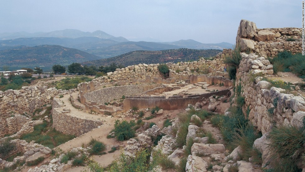 The remains of the once mighty Mycenaean empire in Greece include the beehive-shaped tholos tombs reserved for royalty, which are still being excavated and studied. A graveyard is shown here.
