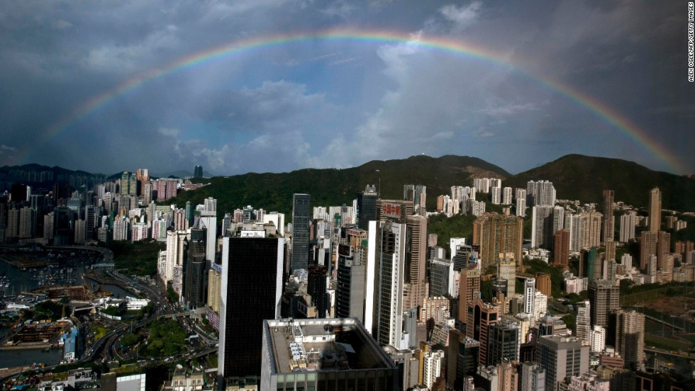 A rainbow appears in the skies above a Hong Kong office building on August 7.