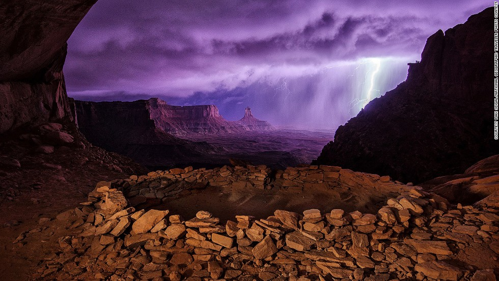 "<strong>Second place: Thunderstorm at False Kiva</strong><br />Photo and caption by Max Seigal/<a href=""http://travel.nationalgeographic.com/travel/traveler-magazine/photo-contest/2013/"" target=""_blank"">National Geographic Traveler Photo Contest</a>.<br />Max Seigal says: ""I hiked out to these ruins at night hoping to photograph them with the Milky Way, but instead a thunderstorm rolled through, creating this dramatic image."""
