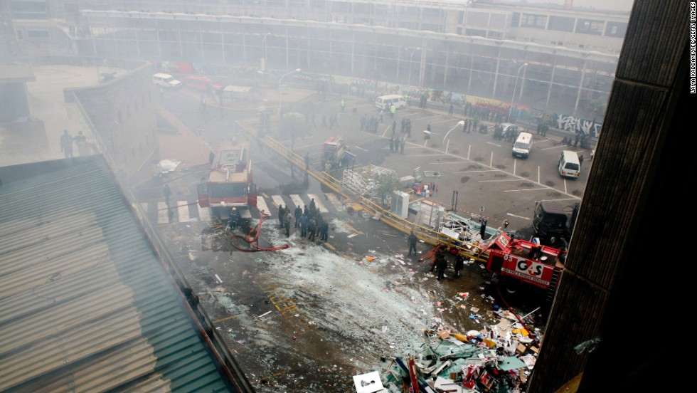 The damage appears extensive at the airport after the massive fire August 7.