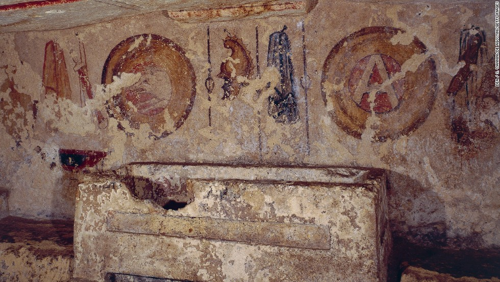 """Before there were Romans, the Etruscans had their distinct civilization in Italy from 750 to 90 BC. They're known for their elaborate burial practices and huge necropolises, including this 4th century necropolis at <a href=""""http://whc.unesco.org/en/list/1158"""" target=""""_blank"""">Tarquinia</a>."""
