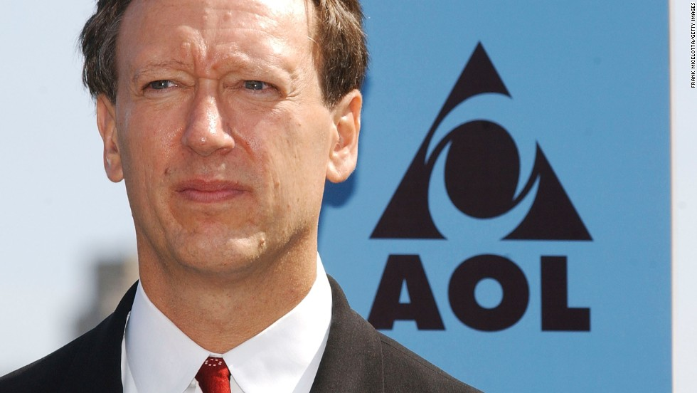 Jon Miller, former chairman and CEO of AOL, is photographed with the logo the company used from 1996 to 2005.