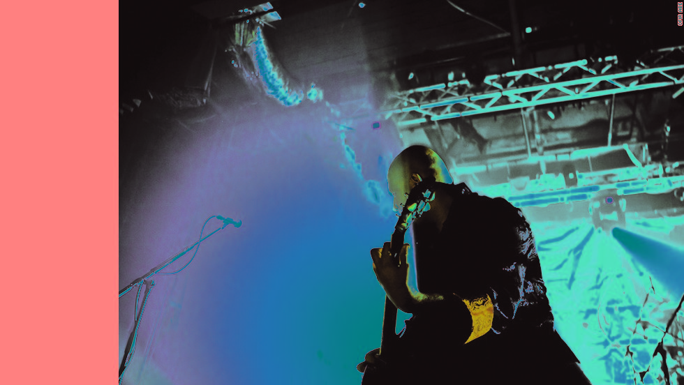 Hathout performing on stage. He and Farhi met almost a decade ago at a radio station and bonded over heavy metal with a Middle Eastern twist.