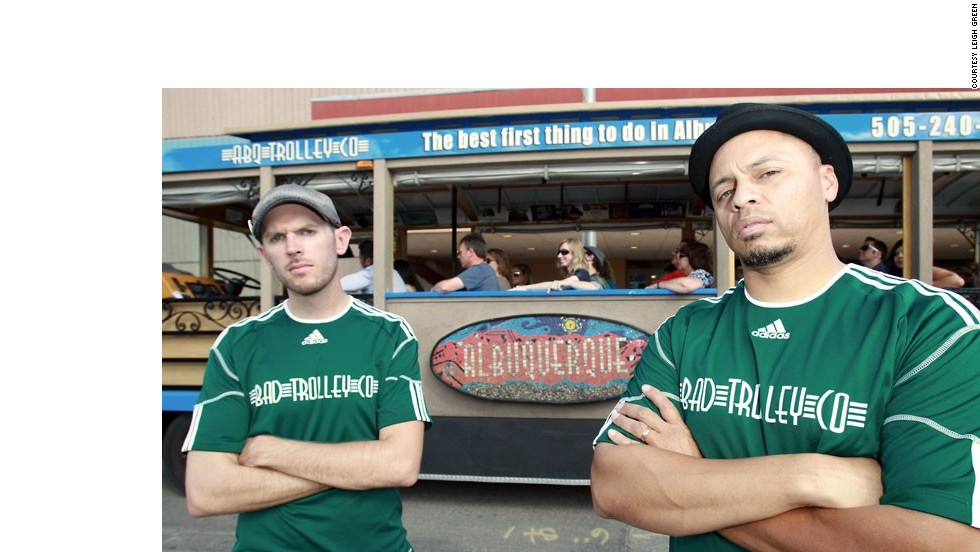 """Jesse Herron, left, and Mike Silva run ABQ Trolley Co., which offers a BaD Tour that shows riders up to 20 """"Breaking Bad"""" locations from all five seasons."""