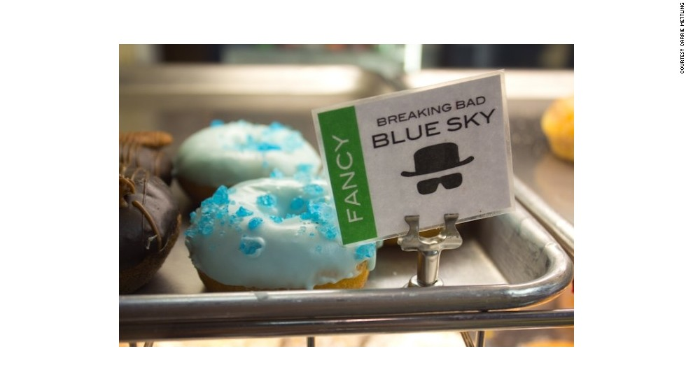 """Keep with the """"Breaking Bad"""" theme at Rebel Donut by devouring a vanilla cake doughnut with light blue, cotton-candy-flavored icing topped with blue rock candy."""