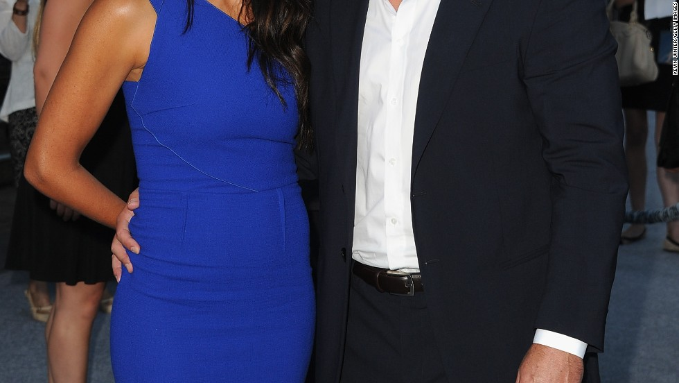 """Matt Damon and his wife Luciana Barroso attend the premiere of """"Elysium"""" on August 7."""