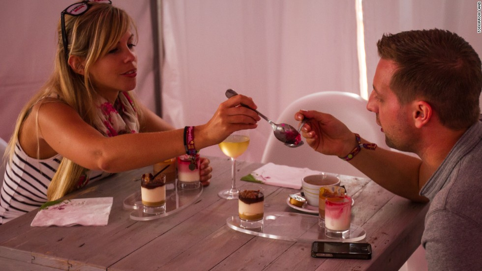 An electronic-dance festival, yes, but do this couple look as though they enjoy tucking into a greasy post-club takeaway? This event has a Michelin-starred chef advising on the food.