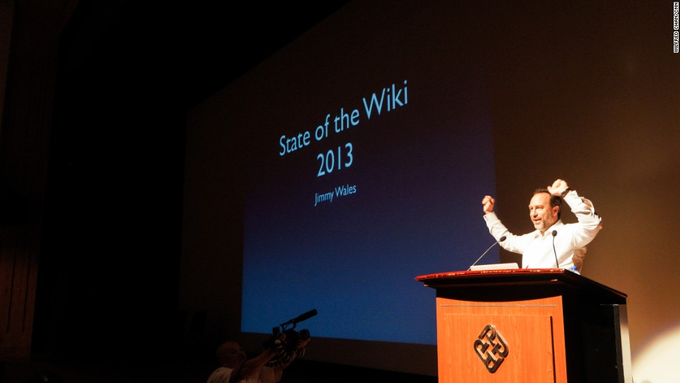 "Jimmy Wales told the ""Wikimania"" conference that Wikipedia now has 8 languages with over 1 million articles."