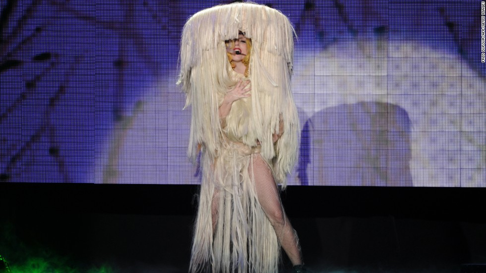Lady Gaga performs onstage in 2010 at Palais Omnisports de Paris-Bercy in Paris.