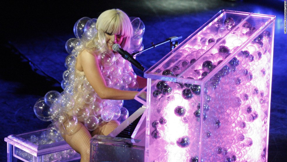 Lady Gaga performs at the Grammy Celebration Concert Tour in 2009.