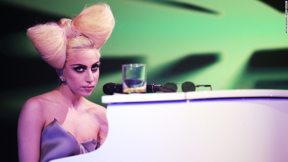 Lady Gaga performs at the 2009 launch of music video website VEVO in New York.