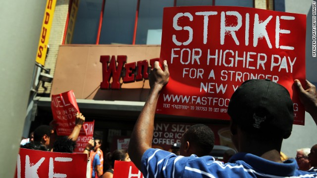Fast food workers demand higher wages