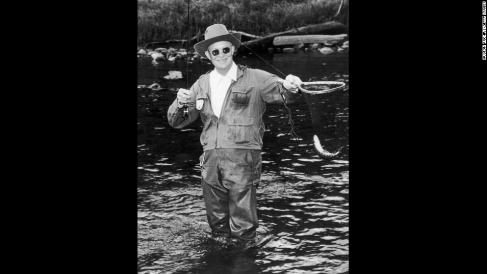 President Dwight Eisenhower fishes the North Platte River in 1953 at the Swan Hereford Ranch in Colorado. Eisenhower also enjoyed golf trips to Augusta, Georgia.