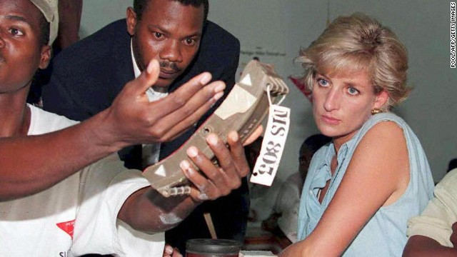 Prince Harry's mother Princess Diana visited Angola in 1997 in support of the campaign to ban anti-personnel landmines.