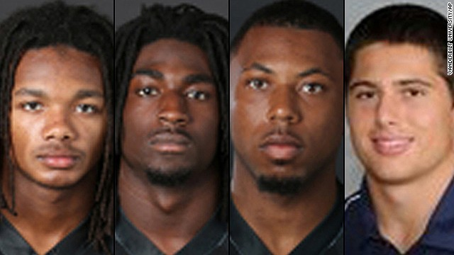 From left, Brandon Banks, 19, of Brandywine, Maryland; Corey Batey, 19, of Nashville; Jaborian McKenzie, 19, of Woodville, Mississippi; and Brandon Vandenburg, 20, of Indio, California; have been charged with with five counts of aggravated rape and two counts of aggravated sexual battery according to the Nashville Metropolitan Police Department.