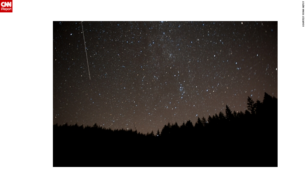 "<a href=""http://ireport.cnn.com/docs/DOC-481548"">Ryan Nefcy </a>was photographing the meteor shower in Portland, Oregon, when he says his peaceful evening back in 2010 was interrupted by logging trucks and the shockingly loud sound of elk bugling."