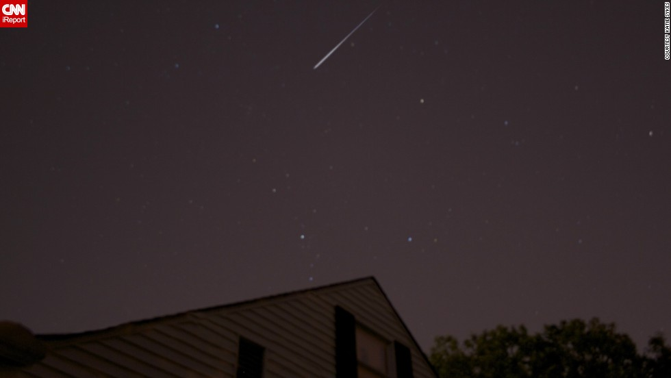 "<a href=""http://ireport.cnn.com/docs/DOC-828590"">Katie Sykes</a> recalls seeing her first meteor shower when she was 14 years old and says she has looked forward to the Perseids every year since. She captured this photo in Wichita, Kansas, in August of 2012."