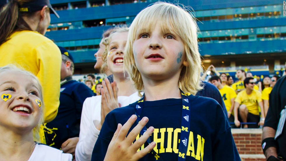 "In 2012, CNN affiliate KWTV reported that 5-year-old Cooper Barton (seen here) <a href=""http://schoolsofthought.blogs.cnn.com/category/dress-codes/"">was asked by his school principal to turn his University of Michigan shirt inside-out</a> The school district only allowed university wear from schools in the state of Oklahoma. The dress code said the policy was meant to deter gangs."