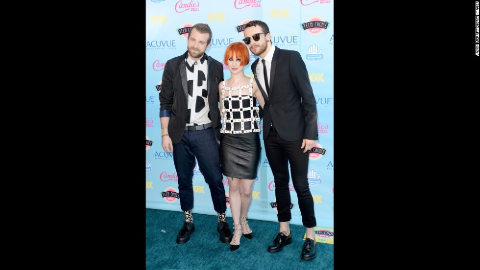 Members of rock band Paramore -- from left, Jeremy Davis, Hayley Williams and Taylor York -- arrive for the awards.