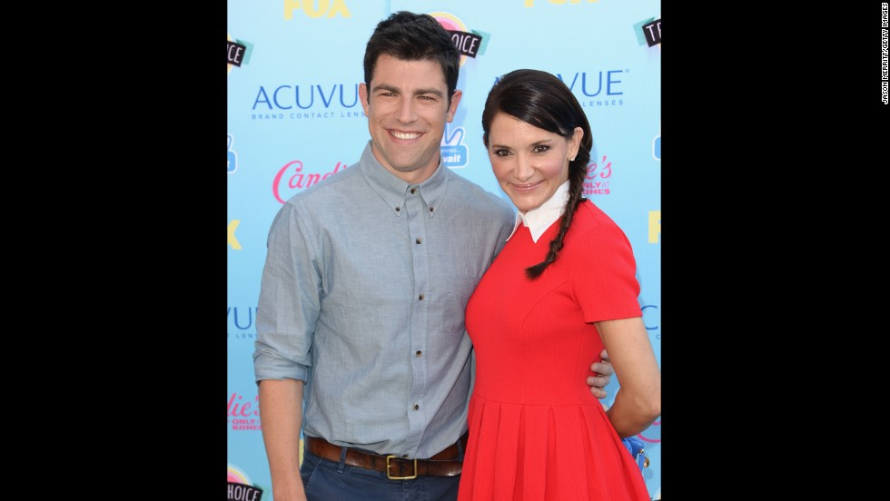 "Max Greenfield, from Fox's ""New Girl,"" arrives with his wife, Tess Sanchez."