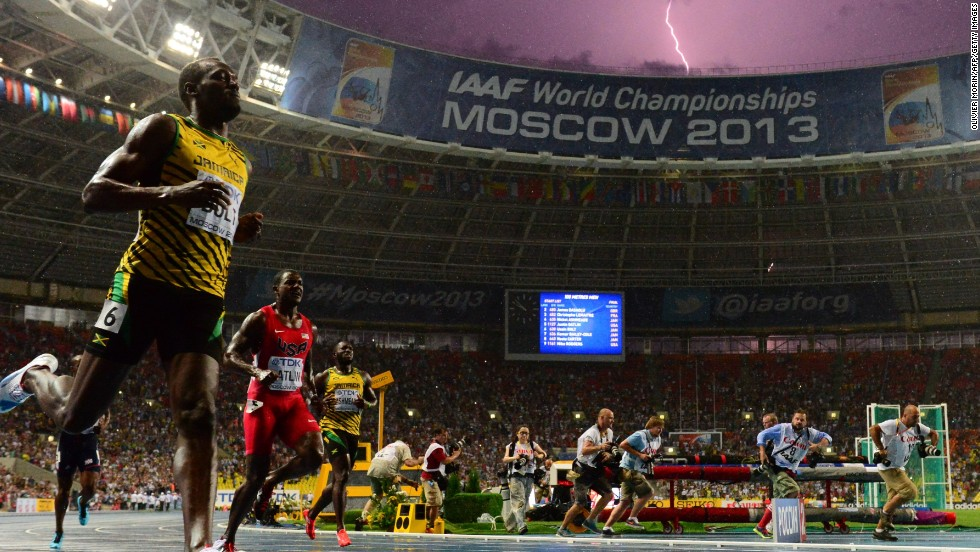Bolt reclaimed his 100m world crown last Sunday and was promptly greeted with a flash of approval from mother nature.