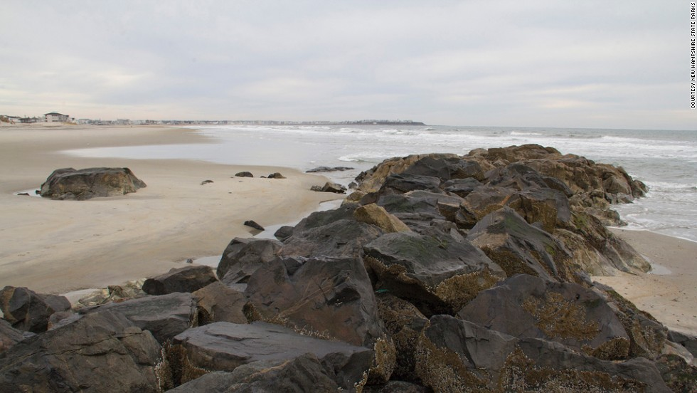 "<a href=""http://www.hamptonbeach.org/"" target=""_blank"">Hampton Beach State Park</a>'s rugged beauty and pristine waters are what make this beach a state favorite. This rock formation separates the southern end of the New Hampshire state park from its Massachusetts neighbor."