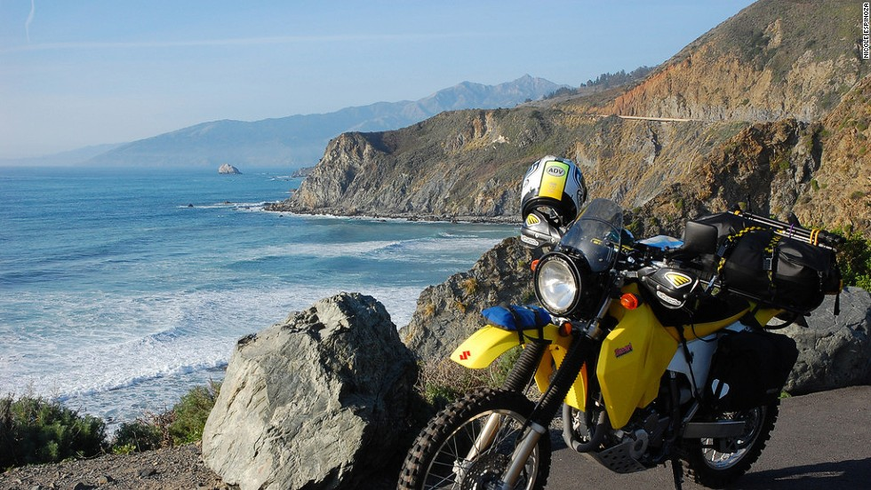 At San Simeon in California, bikers can stop to take in the ocean views and tour Hearst Castle before heading either south to Los Angeles or north to San Francisco.