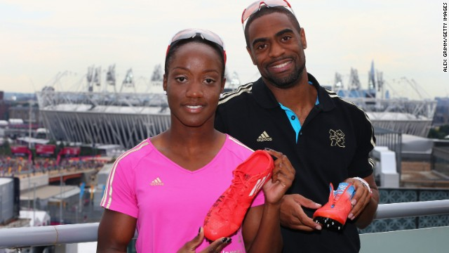 Kelly-Anne Baptiste and Tyson Gay pose at a promotional shoot ahead of the London 2012 Games. Both have failed doping tests this year.