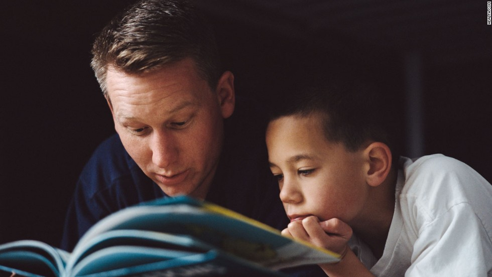 Tell little ones a bedtime story or talk to older kids about their day.