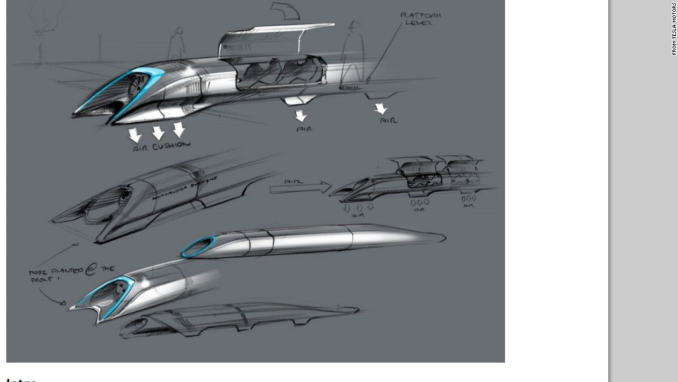 The proposed Hyperloop high-speed transport system would ferry passengers between Los Angeles and San Francisco in about 30 minutes, according to entrepreneur Elon Musk. This sketch shows what a passenger capsule might look like.