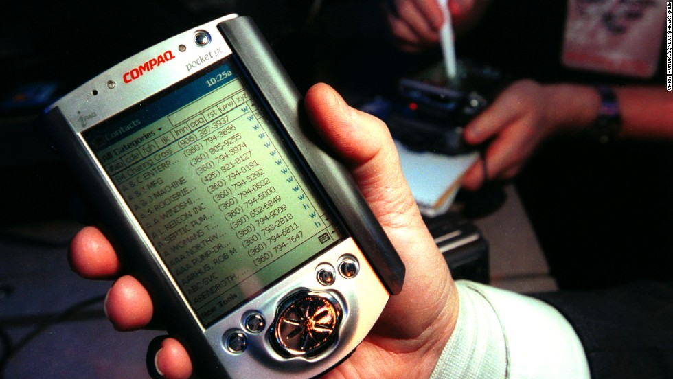 The pocket PC and Palm Pilot brought your calendars, addresses, contacts and a calculator into one handy dandy tool instead of hand-scrawled notebooks. Downsides apart from the original green screen? They couldn't make calls. Worse than that, the pen/pencil/stylus/thingy would always vanish.