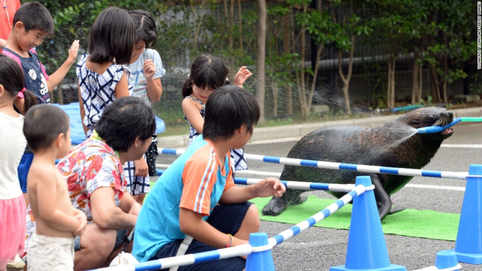 A sea lion splashes water with a hose to cool down young visitors at the Aqua Stadium in Tokyo on August 12.